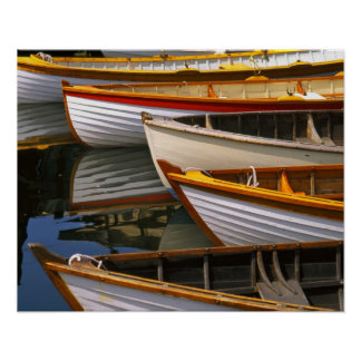Bright colored boats at the Wooden Boat Center Poster