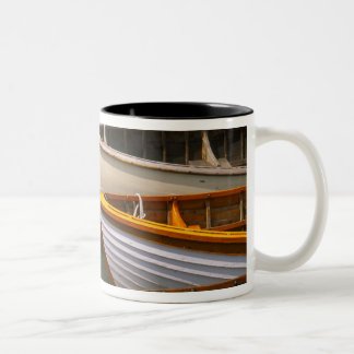 Bright colored boats at the Wooden Boat Center Two-Tone Coffee Mug