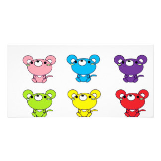 Bright Colored Cartoon Mice in Rows Card