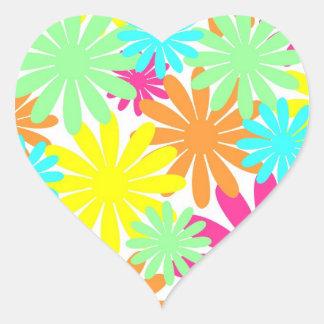Bright colored daisy flowers heart sticker