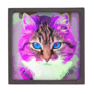 Bright Colored Domestic Cat Face Portrait Gift Box
