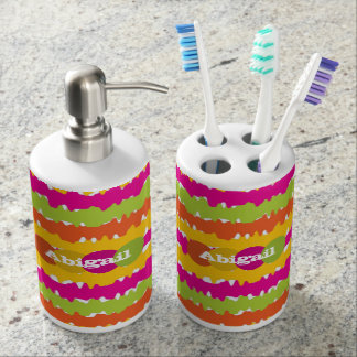 Bright Colored Horizontal Lines Personalized Bath Accessory Sets