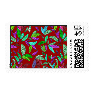 Bright Colored Mosaic Leaves Postage