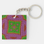 Bright colored mosaic tile acrylic key chains