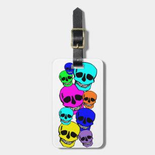 Bright colored neon skulls design luggage tag