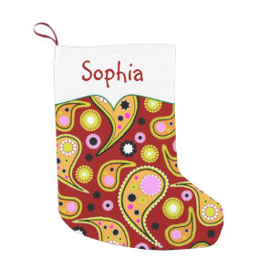 Bright Colored Paisley Personalized Small Christmas Stocking