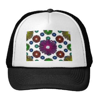 bright colored retro inspired flowers hats