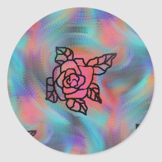 bright colored retro inspired flowers round sticker