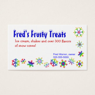 Bright Colored Snowflakes Business Card
