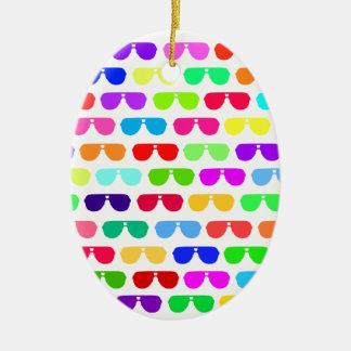 Bright Colored Summer Sunglasses Ceramic Ornament