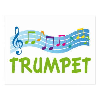 Bright Colored Trumpet Music Staff Gift Postcard