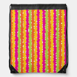 Bright Colored Vertical Squiggle Lines Drawstring Backpack