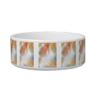 Bright Colorful Abstract Art Light Beams Cat Food Bowl