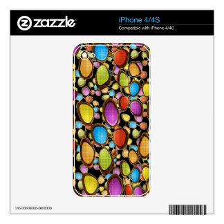 Bright Colorful Abstract Oval Shapes Pattern Skins For The iPhone 4
