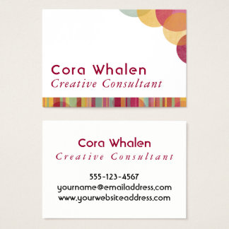 Bright & Colorful Abstract w/ Stripes & Circles Business Card
