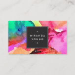 """Bright Colorful Abstract Watercolor Art Business Card<br><div class=""""desc"""">An abstract wash of bright multi-colored watercolors creates an intriguing and eye-catching backdrop on this modern business card design. Watercolor illustration and design copyright &#169; 1201AM CREATIVE</div>"""
