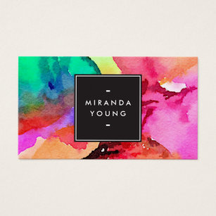 Painter business cards templates zazzle bright colorful abstract watercolor art business card cheaphphosting Images