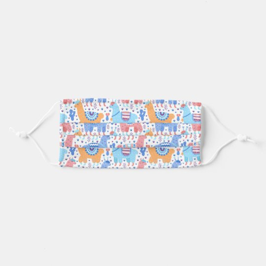 Bright Colorful Alpaca Pattern Cloth Face Maskcom