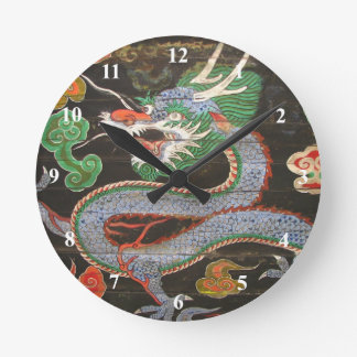 Bright Colorful Asian Dragon Art Round Clock