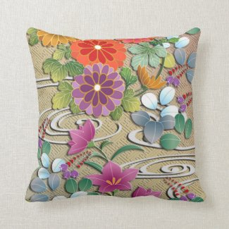 Bright colorful autumn flowers throw pillow