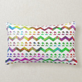 Bright Colorful Birds and Chevron Pattern. Pillow