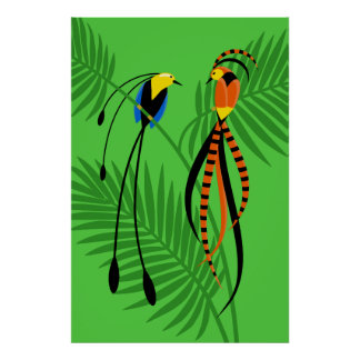 Bright Colorful Birds of Paradise Poster