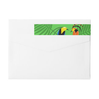 Bright Colorful Birds of Paradise Wrap Around Label