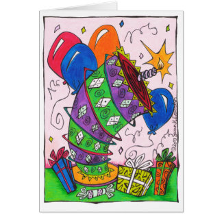 Bright Colorful Birthday Cake Balloons Drawing Card