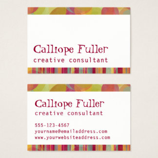 Bright & Colorful Borders w/ Stripes & Curves Business Card