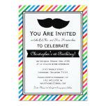 Bright Colorful Boy Moustache Birthday Party Custom Invitations