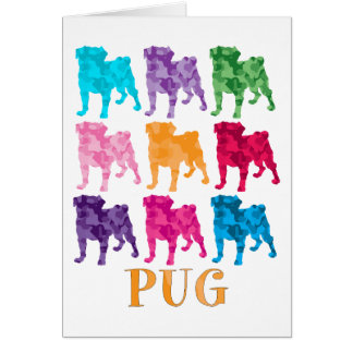 Bright Colorful Camouflage Pugs Greeting Card