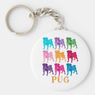 Bright Colorful Camouflage Pugs Keychain