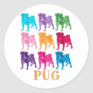 Bright Colorful Camouflage Pugs Sticker