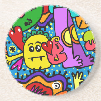 Bright Colorful Cartoon Monsters Coaster