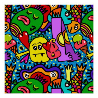 Bright Colorful Cartoon Monsters Poster