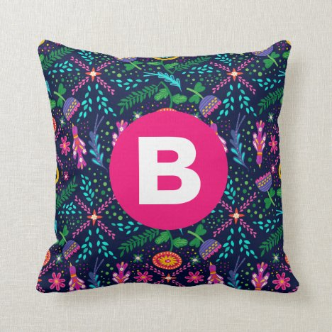 Bright Colorful Chaotic Floral Dark Blue Monogram Throw Pillow