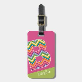 Bright Colorful Chevron Pattern Custom Monogram B Bag Tag