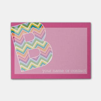 Bright Colorful Chevron Pattern Custom Monogram B Post-it® Notes