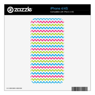 Bright Colorful Chevron Zigzag Stripes Decal For The iPhone 4S