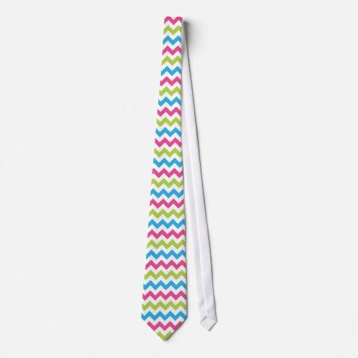 Bright Colorful Chevron Zigzag Stripes Tie