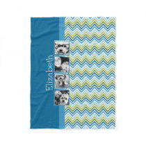 Bright Colorful Chevrons Instagram Photo Collage Fleece Blanket