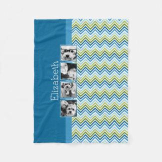 Bright Colorful Chevrons Instagram Photo Collage Fleece Blanket