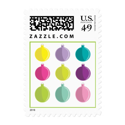 Bright & Colorful Christmas Ornaments Postage