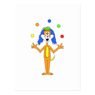 Bright colorful Clown Dog Cartoon Postcards
