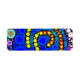 Bright Colorful Concentric Circles Swirl Pop Art Label