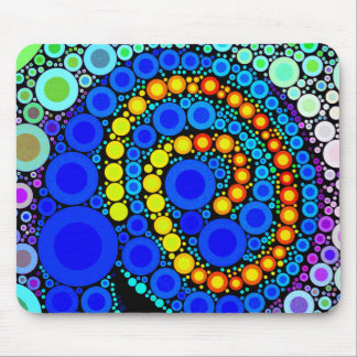 Bright Colorful Concentric Circles Swirl Pop Art Mouse Pad