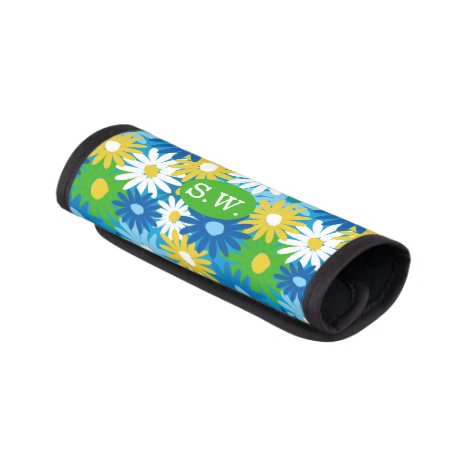 Bright colorful daisies monogram luggage handle wrap
