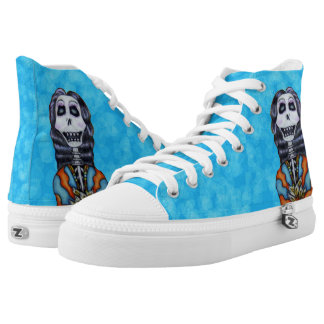 Bright colorful Day of Dead Female Skeleton High-Top Sneakers