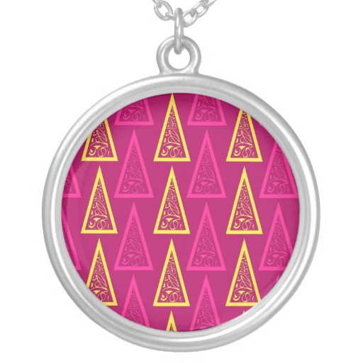 Bright Colorful Decorative Christmas Tree Gifts Round Pendant Necklace
