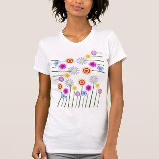 Bright, colorful, digital art flowers shirt